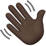 Waving Hand: Dark Skin Tone on Apple iOS 13.3
