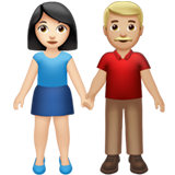 Woman and Man Holding Hands: Light Skin Tone, Medium-Light Skin Tone on Apple iOS 13.3