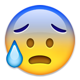 Anxious Face with Sweat on Apple iOS 9.0