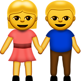 Woman and Man Holding Hands on Apple iOS 9.0
