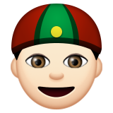 Person With Skullcap: Light Skin Tone on Apple iOS 9.0