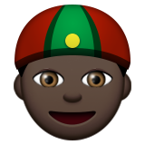 Person With Skullcap: Dark Skin Tone on Apple iOS 9.0
