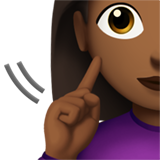 Deaf Woman: Medium-Dark Skin Tone on Apple iOS 14.2
