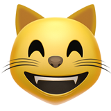 Grinning Cat with Smiling Eyes on Apple iOS 14.2