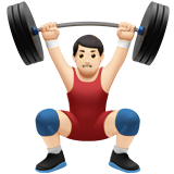 Man Lifting Weights: Light Skin Tone on Apple iOS 14.2