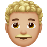 Man: Medium-Light Skin Tone, Curly Hair on Apple iOS 14.2