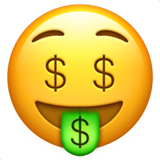 Money-Mouth Face on Apple iOS 14.2