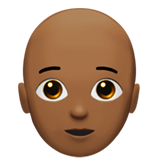 Person: Medium-Dark Skin Tone, Bald on Apple iOS 14.2