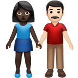 Woman and Man Holding Hands: Dark Skin Tone, Light Skin Tone on Apple iOS 14.2