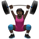 Woman Lifting Weights: Dark Skin Tone on Apple iOS 14.2
