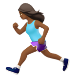 Woman Running: Medium-Dark Skin Tone on Apple iOS 14.2