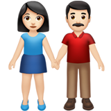 Woman and Man Holding Hands: Light Skin Tone on Apple iOS 14.5