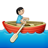 Person Rowing Boat: Light Skin Tone on Apple iOS 9.1