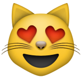 Smiling Cat with Heart-Eyes on Apple iOS 9.1