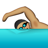 Person Swimming: Medium Skin Tone on Apple iOS 9.1