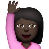 Person Raising Hand: Dark Skin Tone on Apple iOS 9.3