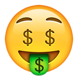 Money-Mouth Face on Apple iOS 9.3