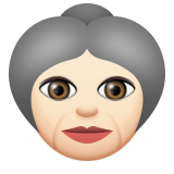 Old Woman: Light Skin Tone on Apple iOS 9.3
