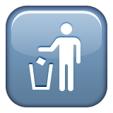 Litter in Bin Sign on Apple iOS 9.3