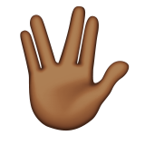 Vulcan Salute: Medium-Dark Skin Tone on Apple iOS 9.3