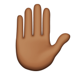 Raised Hand: Medium-Dark Skin Tone on Apple iOS 9.3