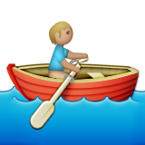 Person Rowing Boat: Medium-Light Skin Tone on Apple iOS 9.3