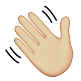 Waving Hand: Medium-Light Skin Tone on Apple iOS 9.3