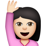 Person Raising Hand: Light Skin Tone on Apple iOS 8.3