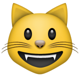 Grinning Cat Face on Apple iOS 8.3