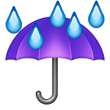 Umbrella with Rain Drops on Apple iOS 8.3