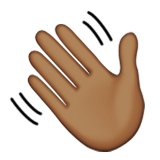 Waving Hand: Medium-Dark Skin Tone on Apple iOS 8.3
