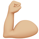Flexed Biceps: Medium-Light Skin Tone on Apple iOS 10.0