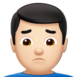 Man Frowning: Light Skin Tone on Apple iOS 10.0
