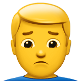 Man Frowning on Apple iOS 10.0