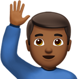 Man Raising Hand: Medium-Dark Skin Tone on Apple iOS 10.0