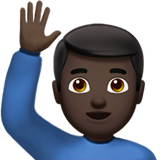 Man Raising Hand: Dark Skin Tone on Apple iOS 10.0
