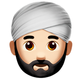 Man Wearing Turban: Light Skin Tone on Apple iOS 10.0