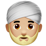 Man Wearing Turban: Medium-Light Skin Tone on Apple iOS 10.0