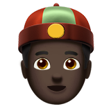 Man With Chinese Cap: Dark Skin Tone on Apple iOS 10.0