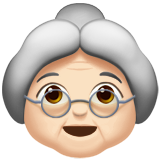 Old Woman: Light Skin Tone on Apple iOS 10.0