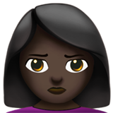 Person Pouting: Dark Skin Tone on Apple iOS 10.0