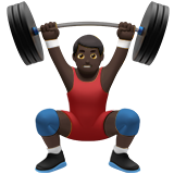 Person Lifting Weights: Dark Skin Tone on Apple iOS 10.0
