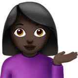Woman Tipping Hand: Dark Skin Tone on Apple iOS 10.0