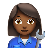 Woman Mechanic: Medium-Dark Skin Tone on Apple iOS 10.2