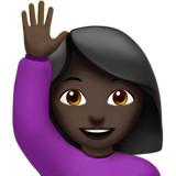 Person Raising Hand: Dark Skin Tone on Apple iOS 10.2