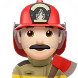 Man Firefighter: Light Skin Tone on Apple iOS 10.2