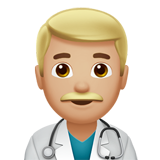 Man Health Worker: Medium-Light Skin Tone on Apple iOS 10.2