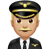 Man Pilot: Medium-Light Skin Tone on Apple iOS 10.2