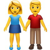 Woman and Man Holding Hands on Apple iOS 10.2