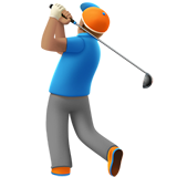 Man Golfing: Medium Skin Tone on Apple iOS 10.2